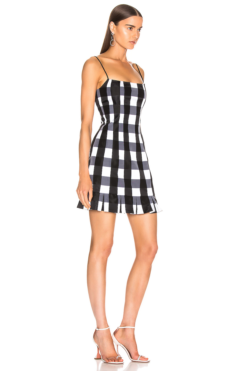 RASARIO Checked Satin Mini Dress in Black & White | FWRD