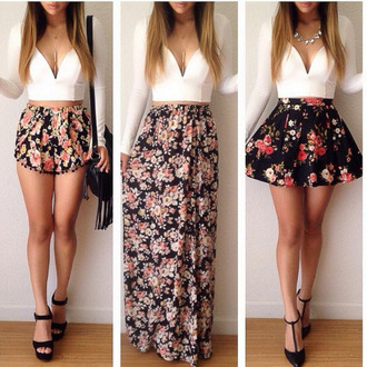 floral skirt flowered shorts floral maxi skirt