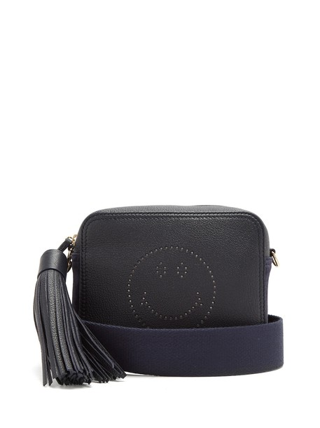 cross smiley bag leather navy