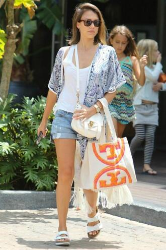 blouse summer outfits jessica alba shorts denim shorts cover up