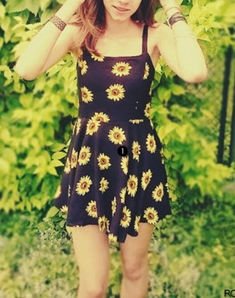 dress flowers summer black yellow cute fashion youth