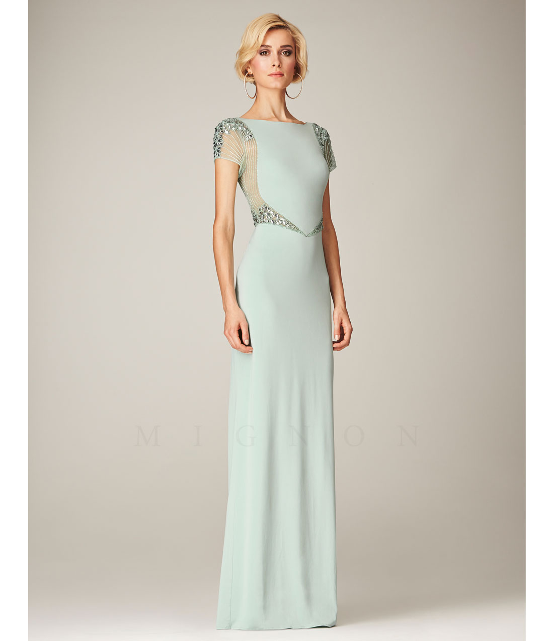 Mignon Spring 2014 Dresses Mint Bateau Beaded Cap Sleeve