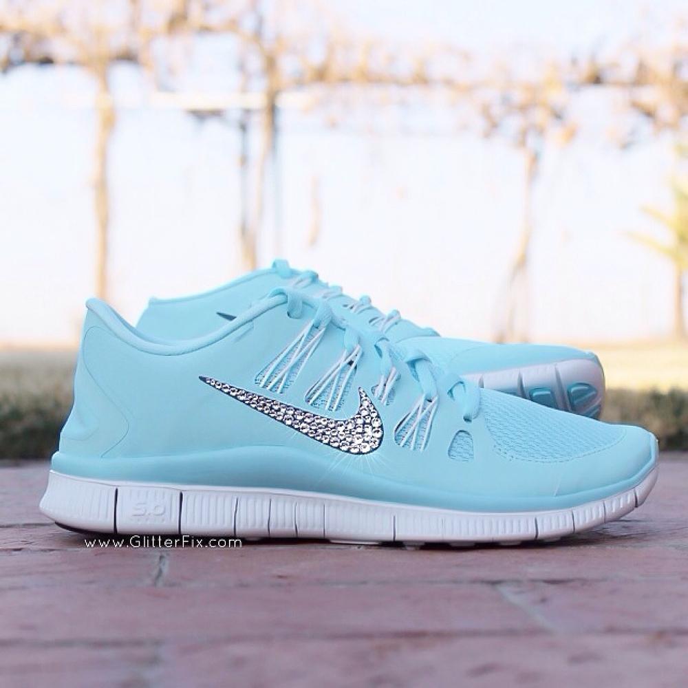 52f0474de6ac27 ... Nike Free 5.0 w  Swarovski Rhinestones - Glacier Ice Blue   Glitterfix  ...