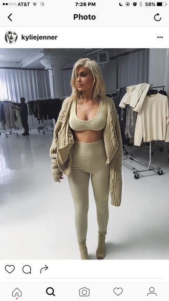 pants kylie jenner yeezy crop tops nude top nude pants keeping up with the kardashians leggings cardigan kardashians booties fall outfits bralette sweater top knitwear