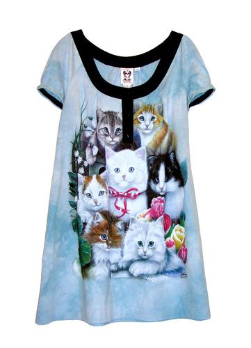 Kitten Cats Printed Printed Powder Blue Tie Dye Tunic Dress