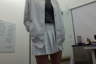 cardigan skirt t-shirt creme buttons american apperal jacket college jacket soft ghetto cyber ghetto
