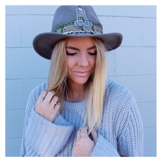 hat grey jewels winter outfits tribal pattern silver bohemian gypsy hipster jewelled