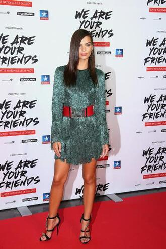 dress emerald green fringes fringed dress emily ratajkowski sandals shoes green dress