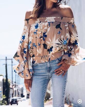 top tumblr off the shoulder off the shoulder top denim jeans blue jeans
