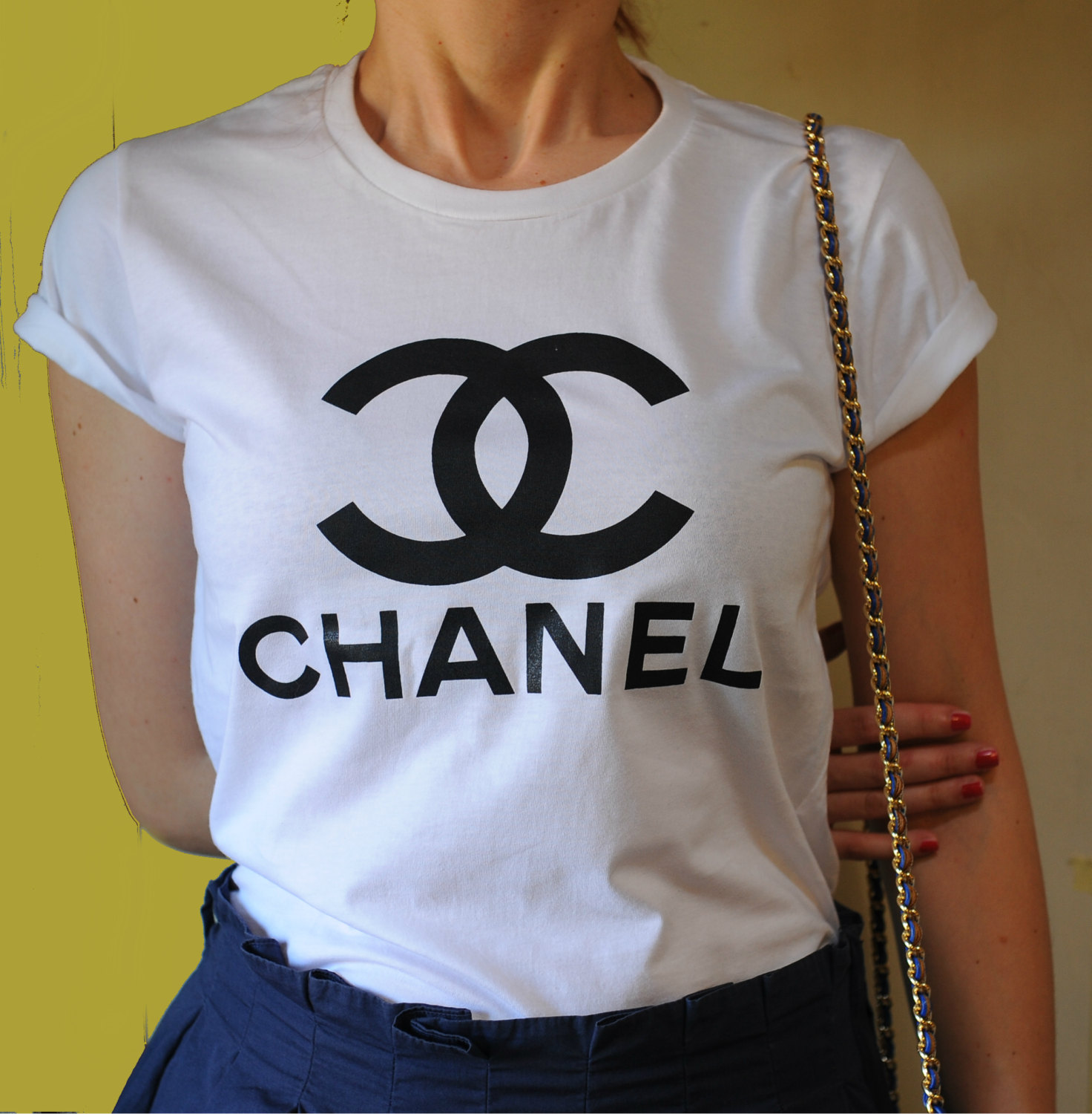 chanel t shirt chanel shirt style printed t shirt woman tee woman t shirt celebrity tee. Black Bedroom Furniture Sets. Home Design Ideas