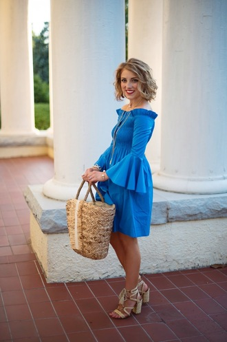 something delightful blogger shirt dress shoes bag jewels bell sleeve dress blue dress basket bag sandals summer outfits