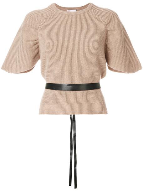 jumper short women cotton wool brown sweater