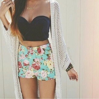 tank top black corset corset flower pants shorts cardigan white cardigan