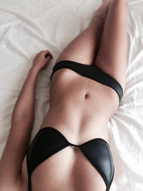 swimwear bikini leather black black bikini