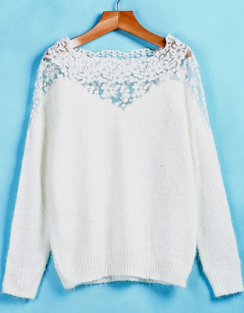 clothes girly rosy fashion jullnard white sweater jumper lace autumn/winter fall colors sixkisses blogger blouse