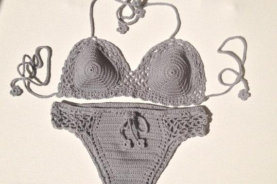 EXPRESS SHIPPING Summer Brazilian Bikini Gray Crochet Bikini Set Cheeky Bikini Bathingsuit Festival top senoAccessory