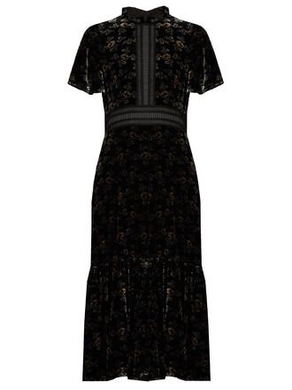 dress velvet dress floral print velvet black
