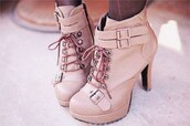 shoes,booties,boots,love,heel,heels,lovely,buckles,tie,lace up,laces,tan