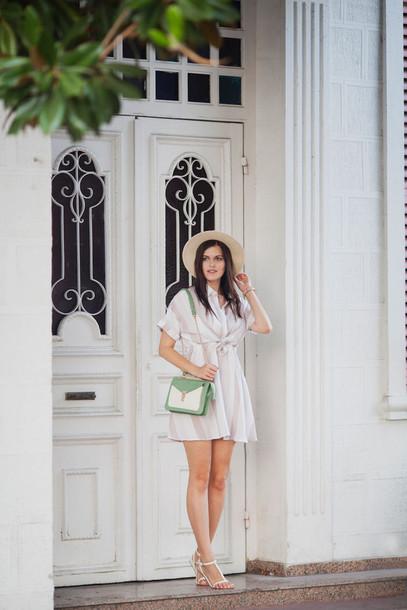 the bow-tie blogger hat bag white dress shoulder bag green bag mini dress straw hat flats