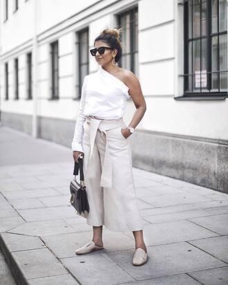 pants tumblr white pants wide-leg pants culottes white culottes shoes mules top white top one shoulder sunglasses blouse