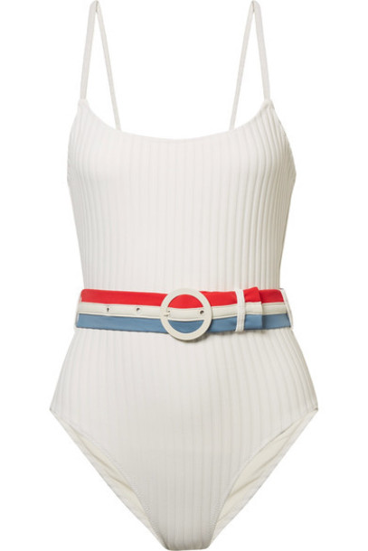 Solid and Striped white knit swimwear