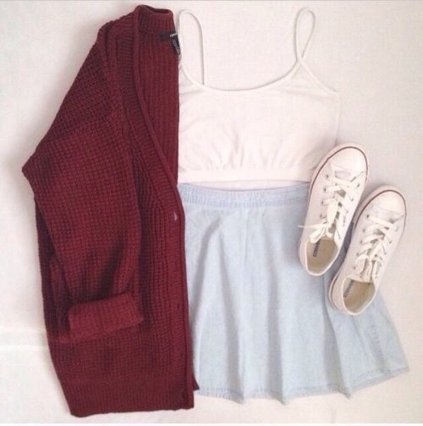 converse white crop tops burgundy skater skirt light blue blue skirt knitted cardigan coat blouse shoes skirt cardigan
