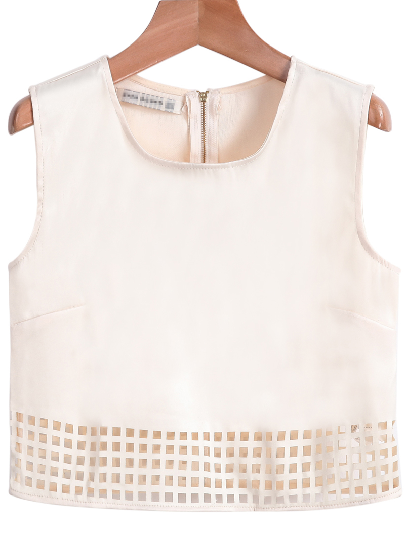 Apricot Sleeveless Zipper Hollow Vest - Sheinside.com