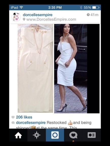 dress white dress celebrity style fashion style kim kardashian cute dress sexy dress glamgerous
