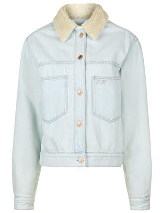 jacket denim embroidered blue white