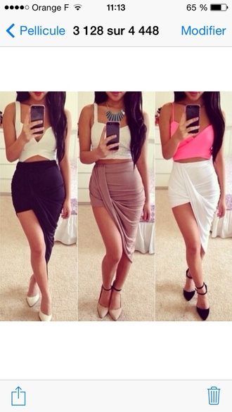 skirt black white asymmetrical red lime sunday