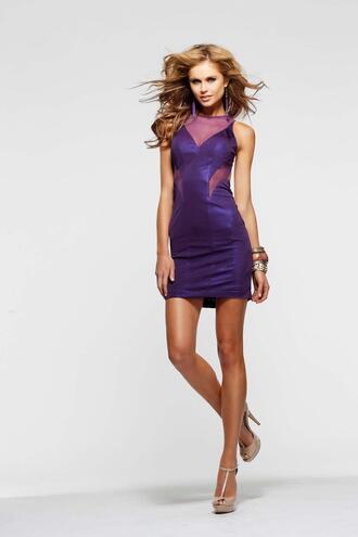 waist mini gwon gown cheap dress short dress purple dress high neck