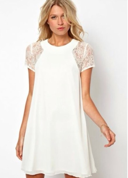Dress: white dress white knee length dress lace sleeve dress ...