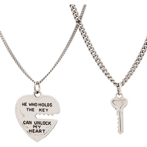 Sterling Silver Heart and Key Pendant Set, 18