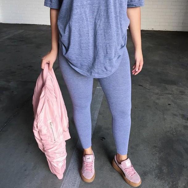 Leggings Blue Cotton Bomber Jacket Shoes Puma