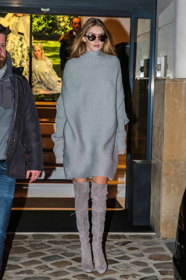 dress sweater dress oversized sweater oversized grey fall outfits fall sweater gigi hadid streetstyle fashion week 2016 boots over the knee boots sunglasses winter outfits