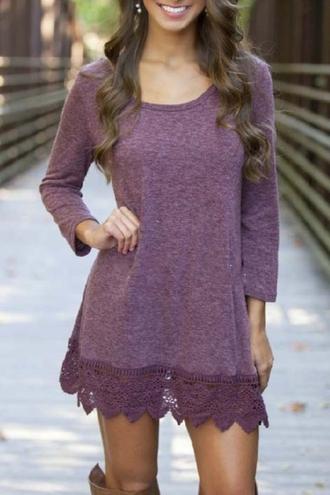 dress purple casual fashion style trendy long sleeves cute beautifulhalo