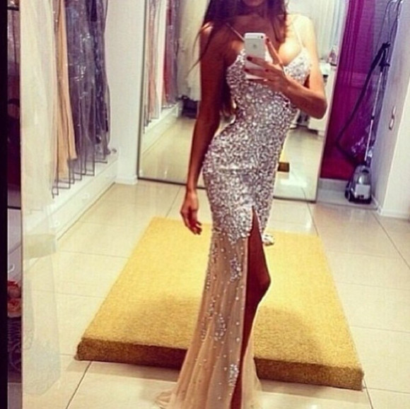 dress sequin prom longpromdress slit