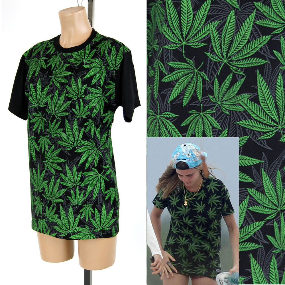 Unisex green marijuana leaves printed celebrity oversize graphic t shirts s ~ xl