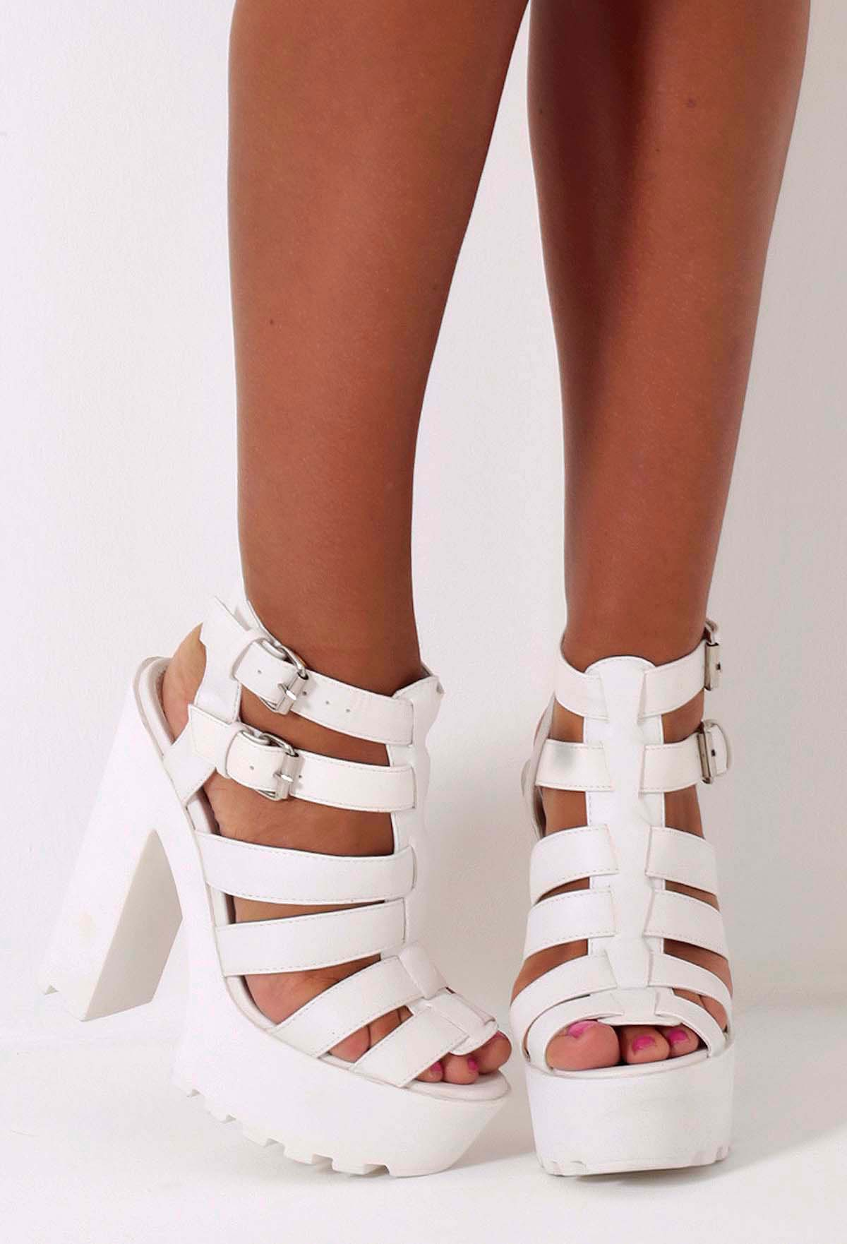 White Chunky Heel Sandals