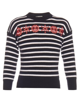 sweater striped sweater embroidered cut-out floral navy white
