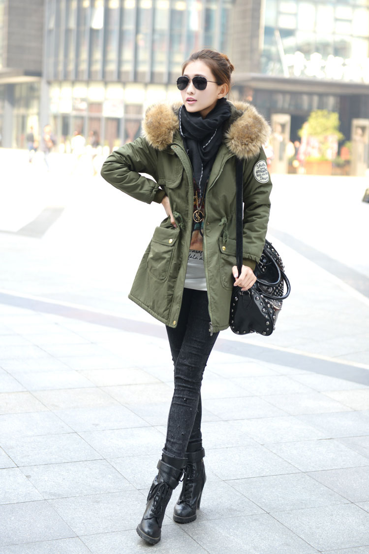 Women thicken fleece Warm Coat Lady Outerwear Fur Hooded Parka ...