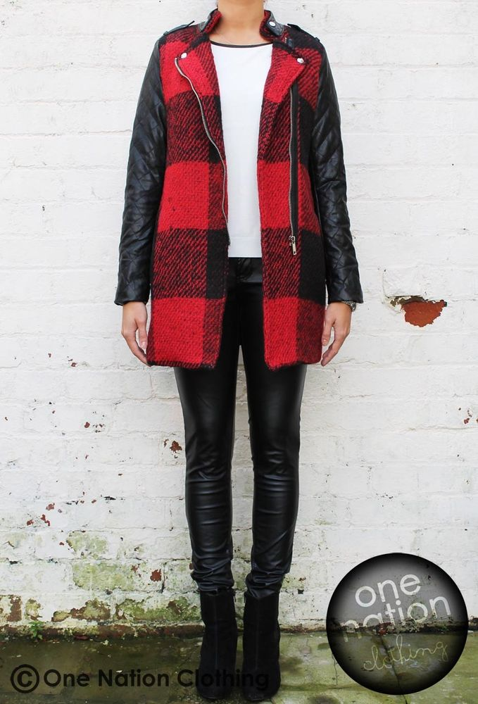 Red Black Checked Tartan Felt Wool/Leather Look Sleeves Biker Jacket Coat Zara S