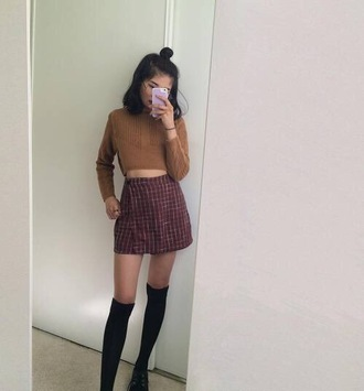 skirt high waisted skirt corduroy skirt plaid skirt instagram instagram girl insta model burgundy skirt shirt top brown long sleeves velvet velvet skirt velvet shirt