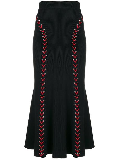 Alexander Mcqueen skirt maxi skirt maxi women lace black silk wool