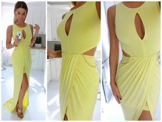 dress maxi dress long dress yellow yellow dress sexy dress