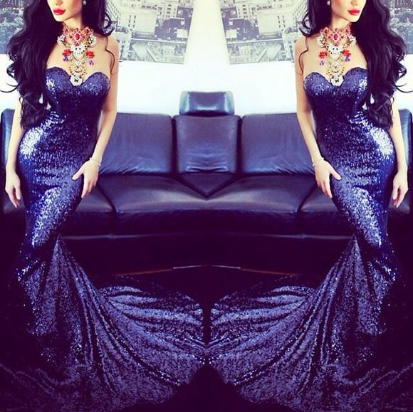 prom dress evening dress long mermaid prom dress sparkling sequined prom dress