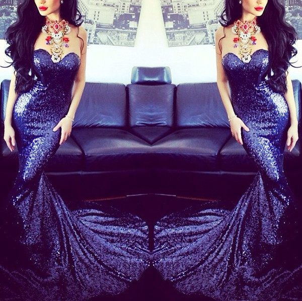 prom dress long mermaid prom dress evening dress sparkling sequined prom dress