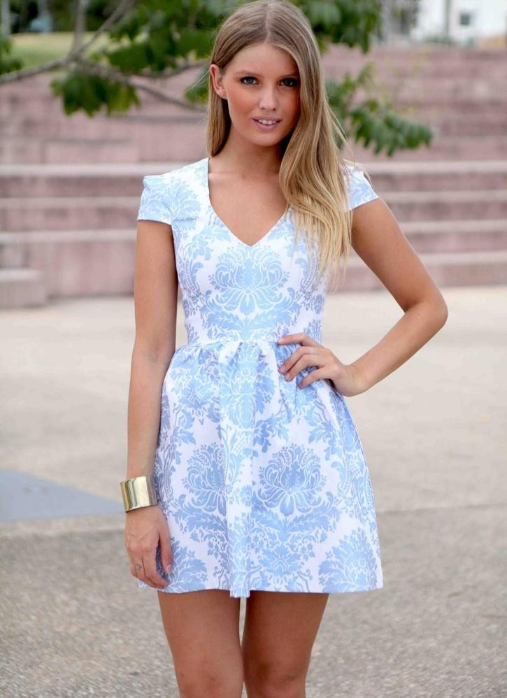 Blue foil printed cap sleeve flare dress