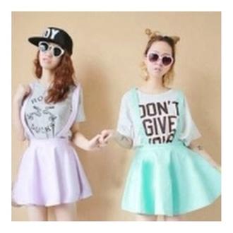 jumpsuit i like purple overalls overall skirt skater skater skirt style neon pastel mint blue blue skirt lavender turquoise purple dress too cute love it heart eyes romper skirt