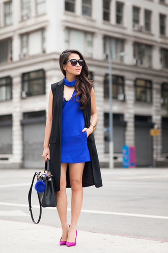 wendy's lookbook blogger jacket dress shoes bag sunglasses keychain fur fur keychain accessories accessory bag accessories choker dress royal blue dress mini dress short dress vest black vest black sunglasses pumps pointed toe pumps purple pumps fall outfits